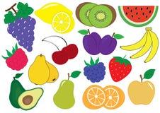 Grupo dos desenhos animados dos frutos e das bagas, ícones Ilustração do vetor Imagem de Stock