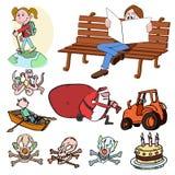 Grupo dos desenhos animados, ilustração Fotografia de Stock