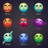 Grupo dos desenhos animados, planetas engraçados do sistema solar Fotos de Stock
