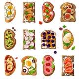 Grupo dos desenhos animados dos sanduíches ilustração royalty free