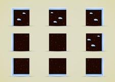 Grupo dos duendes à terra com neve para criar jogos de vídeo Ilustração Stock