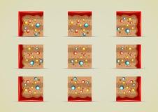 Grupo dos duendes à terra com os doces para criar jogos de vídeo Ilustração Royalty Free