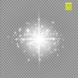 Grupo dos efeitos das luzes de incandescência brancos isolado no fundo transparente Flash de Sun com raios e projetor Luz do fulg Imagem de Stock