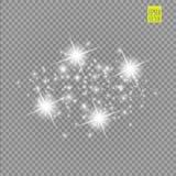 Grupo dos efeitos das luzes de incandescência brancos isolado no fundo transparente Flash de Sun com raios e projetor Luz do fulg Imagem de Stock Royalty Free