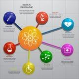 Grupo dos elementos 3D infographic lustrosos com ilustração Fotos de Stock Royalty Free