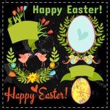 Grupo dos elementos florais, ovos no quadro Imagens de Stock Royalty Free