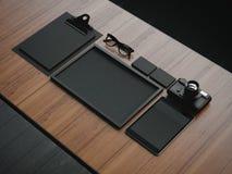 Grupo dos elementos pretos do negócio 3d rendem Imagens de Stock Royalty Free