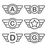 Grupo dos emblemas do vetor com asas Foto de Stock Royalty Free