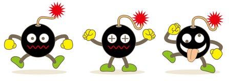 Grupo dos emojis da bomba/imagem do vetor do material de Web ilustração stock