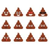 Grupo dos emoticons do tombadilho Ícones bonitos do emoji Emoções dos desenhos animados Ilustração do vetor Foto de Stock Royalty Free