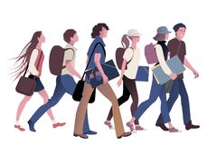 Grupo dos estudantes adolescentes que vão para trás à escola ilustração stock