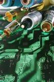 Grupo dos fios e dos cabos fotografia de stock