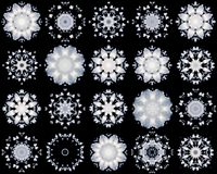 Grupo dos flocos de neve brancos no fundo preto Imagens de Stock