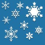 Grupo dos flocos de neve de papel Fotografia de Stock Royalty Free