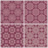 Grupo dos fundos sem emenda violetas com testes padrões florais Foto de Stock