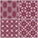 Grupo dos fundos sem emenda violetas com testes padrões geométricos Fotos de Stock Royalty Free