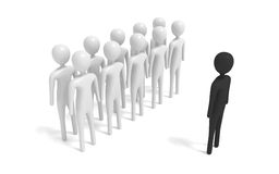 Grupo dos homens 3d brancos com estranho, ilustração 3d Fotografia de Stock