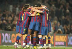 Grupo dos jogadores de FC Barcelona Fotografia de Stock