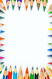 Grupo dos lápis diferentes e coloridos que formam o retângulo foto de stock royalty free