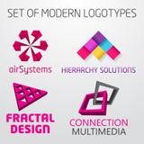 Grupo dos logotipos 3d geométricos coloridos do sumário do vetor Fotografia de Stock Royalty Free