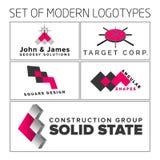 Grupo dos logotipos 3d geométricos coloridos do sumário do vetor Fotografia de Stock