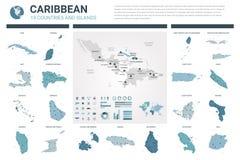 Grupo dos mapas do vetor A elevação detalhou 19 mapas dos países caribenhos com divisão administrativa e cidades Mapa pol?tico, m ilustração stock