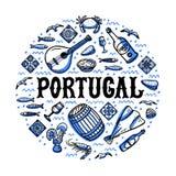 Grupo dos marcos de Portugal Ilustração Handdrawn do vetor do estilo do esboço ilustração do vetor