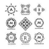 Grupo dos moldes azuis do luxo, os simples e os elegantes do monograma do projeto ilustração do vetor