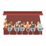 Grupo dos motociclistas e de um Guy Stting At The Counter novo magro com empregado de bar calmos atrás, barra da cerveja e vista  ilustração royalty free