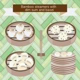 Grupo dos navios de bambu com dim sum e baozi Fotografia de Stock