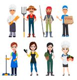 Grupo dos personagens de banda desenhada masculinos e fêmeas com várias ocupações ilustração do vetor