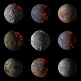 Grupo dos planetas quentes estrangeiros na rendição preta do fundo 3d imagem de stock
