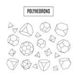 Grupo dos polyhedrons 3d, linha moderna ícones do moderno da arte, cristais Imagens de Stock