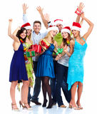 Grupo dos povos do Natal feliz. fotos de stock royalty free