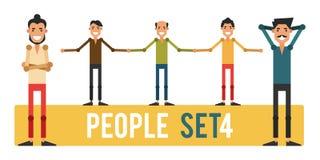 Grupo dos povos engraçados 4 isolados em um fundo branco Diferente Imagens de Stock Royalty Free