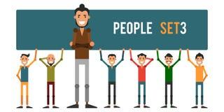Grupo dos povos engraçados 3 isolados em um fundo branco Diferente Foto de Stock