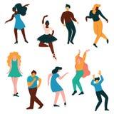 Grupo dos povos, homens e dançarino Performing Classical das mulheres e ilustração de dança do vetor da dança moderna ilustração stock