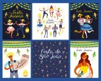 Grupo dos projetos de Festa Junina ilustração stock
