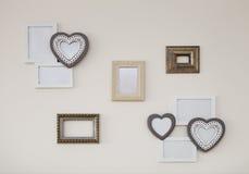 Grupo dos quadros brancos e dourados da antiguidade do vintage Imagens de Stock Royalty Free