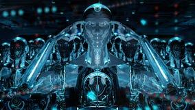 Grupo dos robôs masculinos que seguem a rendição do exército 3d do cyborg do líder ilustração royalty free