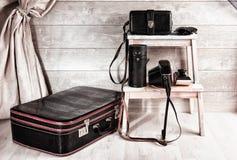 Grupo dos sacos de couro do vintage para o equipamento fotográfico Foto de Stock