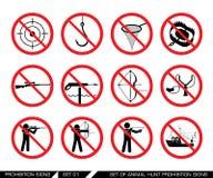 Grupo dos sinais animais da proibição da caça Foto de Stock