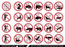 Grupo dos sinais animais da proibição da caça Foto de Stock Royalty Free