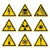 Grupo dos sinais de perigos ilustração royalty free