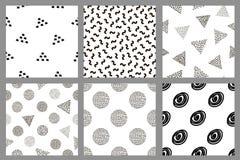 Grupo dos testes padrões sem emenda pretos geométricos Foto de Stock Royalty Free