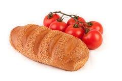 Grupo dos tomates e do pão Fotografia de Stock Royalty Free