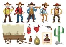 Grupo dos vaqueiros Povos retros ocidentais com armas diferentes e emoções isolados no fundo branco Elementos ocidentais selvagen ilustração stock