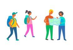 Grupo dos viajantes que anda com mapa, mochileiros ilustração royalty free