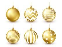 Grupo dourado brilhante das bolas da árvore de Natal Decoração do ano novo Estação do inverno Feriados de dezembro Cumprimentando ilustração stock