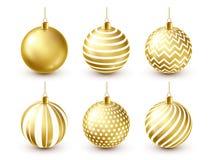 Grupo dourado brilhante das bolas da árvore de Natal Decoração do ano novo Estação do inverno Feriados de dezembro Cumprimentando ilustração royalty free